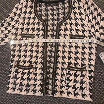 Chanel-Esq Hound Tooth Style  Navy /cream Wool/mix Jacket.  Photo