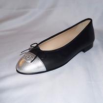 Chanel Fall 2015 15a Shoes Flats Ballet Ballerina Black Silver 36.5 6 1/2 Photo