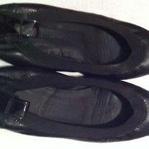 Chanel Flats Black Leather Patent Leather Toe Sz 6.5 Photo