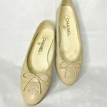 Chanel Flats Shoes Cc Logo and Bow Beige Nude Leather Made in Italy Size 36 Photo