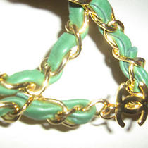 Chanel France Runway Auth  Gold Chain Green Leather Belt Necklace Bracelet  Photo