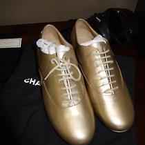 Chanel Gold Lace Up Oxford Flats Photo