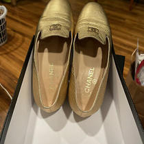Chanel Gold Loafers With Original Box Photo
