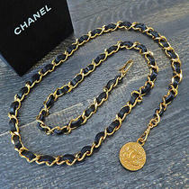 Chanel Gold Plated Black Leather Cc Logos Charm Vintage Chain Belt 6532 Rise-On Photo