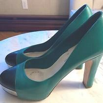 Chanel Green Black Heeled Leather Pumps With the Hidden Platform. 39.5 It / 9 Us Photo