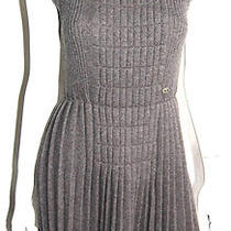 Chanel Heather Gray Wool Pleated-Skirt Classic Knit Dress 38 Photo
