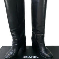 Chanel High Black Boots/booties Sz 38.5 (Us 8.5 - 9) Photo