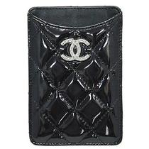 Chanel Iphone Case for 4 4s Black Enamel Leather W/cc Logos A50973  50369