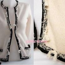 Chanel Ivory Black Cashmere Braided Tweed Tassels  Cardigan Sweater 05c 40 38 Photo
