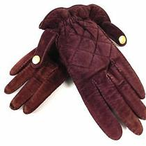 Chanel Ladies Gloves Glove Red Genuine Leather Velour Auth Brown Photo
