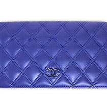 Chanel Lambskin Quilted Blue Cc Wallet W/box & Card Photo