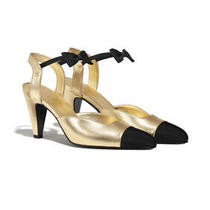 Chanel Laminated Lamb Skin & Grosgrain Gold & Black Mary Jane  Heel Pump Size 38 Photo