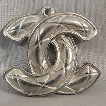Chanel Large Vintage Cc Logo Quilted 1980's Silver Metal Pendant Charm Necklace Photo