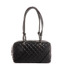 Chanel Leather Cambon Ligne Quilted Large Bowler Shoulder Bag Tote Black Cc Photo