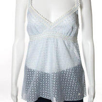 Chanel Light Blue Open Knit Sheer Spaghetti Strap White Trim Tank Top Sz 40 07p Photo