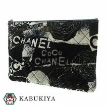Chanel Logo Icon Clutch Bag Canvas Navy Blue Whole Pattern Gradation Mens Photo