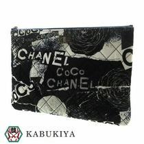 Chanel Logo Icon Clutch Bag Canvas Navy Blue Whole Pattern Gradation Mens Photo
