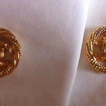 Chanel Logo Vintage 80's Gold Tone Hinged Bar Cufflinks Signed Photo