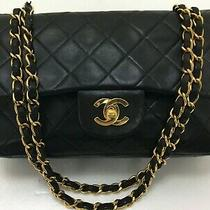 Chanel Matelasse 23 Black Lambskin Leather Purse Chain Double Flap Shoulder Bag  Photo