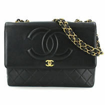 Chanel Matelasse 34 Chain Shoulder Bag Leather Black Vintage Purse 90114567 Photo