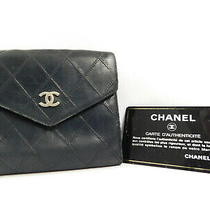 Chanel Matelasse Black Leather Wallet Coin Case Holder Bifolder Auth W/card Photo