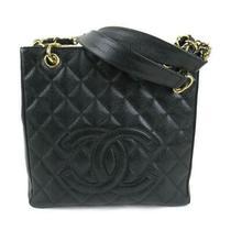 Chanel Matelasse Caviar Skin Chain Tote Bag Leather Black Ghw Used Ladies Coco Photo
