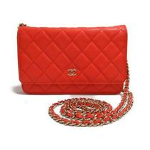 Chanel Matelasse Chain Wallet Shoulder Bag Purse Caviar Skin Leather Red Ghw Photo