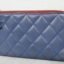 Chanel Matelasse Id Card Holder Card Case Pass Case Blue Pouch Lambskin 4369p Photo