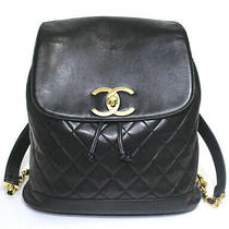 Chanel Matelasse Quilted Lambskin Leather Backpack Bag Black 50246 From Japan Photo