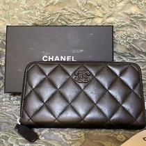 Chanel Matrasse Lambskin Medium Wallet Black Rare 20scha-37 Photo