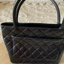 Chanel  Medallion  Cc Logo Quilted Caviar Skin Black Shopping Tote  Authentic Photo