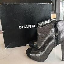 Chanel Metallic Booties Size 38.5 Retail 1350 Tax Photo