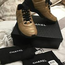 Chanel Metallic Gold Leather Cc Logo Lace Up Sneakers Sz 40.5 Photo