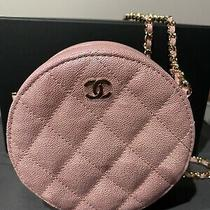Chanel Metallic Iridescent Pink Caviar Quilted Mini Round Clutch Bag With Chain Photo