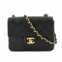 Chanel Mini Matelasse Chain Shoulder Bag Leather Black A01115 Purse 90110924 Photo