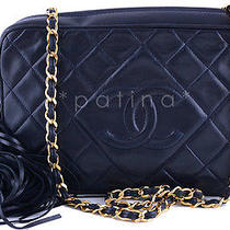 Chanel Navy Blue Classic Quilted Camera Case Lambskin Bag 60828 Photo
