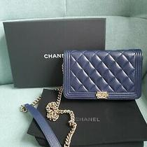 Chanel Navy Caviar Quilted Boy Wallet on Chain Woc Aged Gold Hw New Authentic Photo