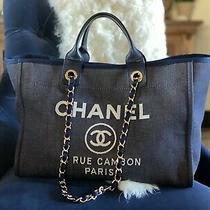 Chanel Navy Denim Deauville Gold Hardware Medium Tote Bag Photo