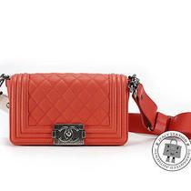 Chanel New A67025 Boy Flap Small Orange Red Lambskin Shoulder Bag Sbhw Mprs Photo