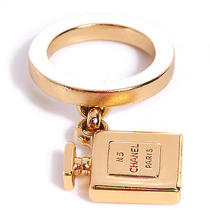 Chanel No. 5 Perfume Bottle Charm Ring Jewelry 6.5 Gold Photo