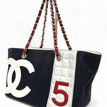 Chanel no.5 Tote Canvas X Leather Navy Cb1204 Photo