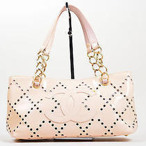 Chanel Nude Blush Patent Leather Perforated 'Cc' Chain Tote Bag Photo