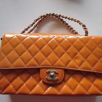 Chanel Orange Patent Leather Double Flap Bag Small Photo