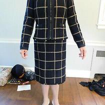 Chanel Paris Boucle Tweed Dress & Jacket Set Black Gold Classic Coa Sz 34 Euc Photo