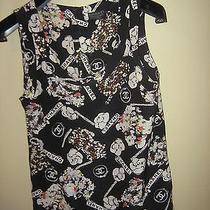 Chanel Paris Runway Auth chanel&cc&camilla Graffiti Logo 100%Silk Top 34  Photo