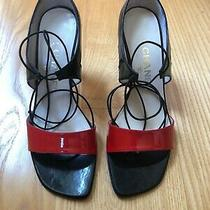 Chanel Patent Leather Lace-Up Sandals Size 38 Authentic Photo