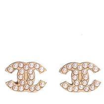 Chanel Pearl Cc Earrings Gold Photo