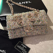 Chanel Pink and Yellow Tweed Double Flap Bag With Nature Brooches Photo