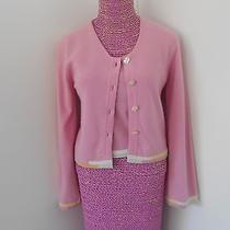 Chanel Pink Cashmere Pastel Trim Button Down Cardigan & Top Sweater Set Sz 34 Photo