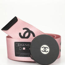 Chanel Pink Knit Nylon Cassette Tape Record Buckle Belt Sz 80 32 04p Hb1229 Photo